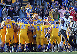 BROOKINGS, SD - OCTOBER 26: South Dakota State University celebrates following the winning touchdown against Northern Iowa in double overtime in their game Saturday afternoon at Coughlin Alumni Stadium in Brookings. (Photo by Dave Eggen/Inertia)