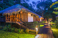 Bedrooms at Sacha Lodge, an Amazon Rainforest lodge near Coca in Euador, South America