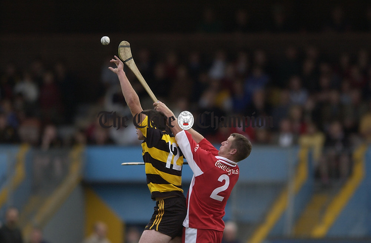 Barry O Connor of Tubber and Eire Og's John Mulcahy contest a high ball during their championship meeting at Cusack Park. Photograph by John Kelly.