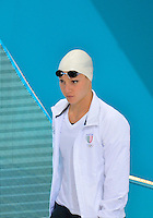 July 28, 2012: ILARIA BIANCHI of Italy arrives on deck to compete in women's 100m butterfly semifinal at the Aquatics Center on day one of 2012 Olympic Games in London, United Kingdom.