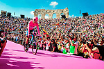 Race leader Maglia Rosa Richard Carapaz (ECU) Movistar Team secures the overall victory at the end of Stage 21 the final stage of the 2019 Giro d'Italia, an individual time trial running 17km from Verona to Verona, Italy. 2nd June 2019<br /> Picture: Jennifer Lorenzini/LaPresse | Cyclefile<br /> <br /> All photos usage must carry mandatory copyright credit (© Cyclefile | Jennifer Lorenzini/LaPresse)