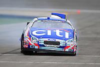 Oct. 3, 2009; Kansas City, KS, USA; NASCAR Nationwide Series driver Greg Biffle after crashing during qualifying for the Kansas Lottery 300 at Kansas Speedway. Mandatory Credit: Mark J. Rebilas-