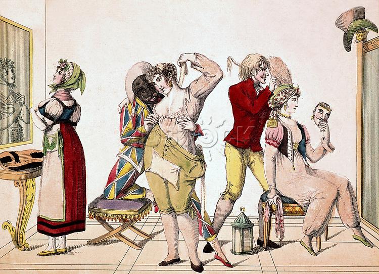 Le travestissement des grisettes (jeunes filles coquettes de condition modeste) :  les apprets pour aller au bal a Tivoli, Paris, vers 1795, gravure, coll. BNF-Paris  ---   Young parisian girls dressing up to go at Tivoli ball, c. 1795, engraving