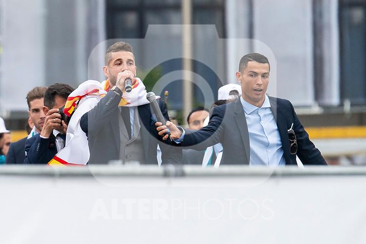 Real Madrid Sergio Ramos and Cristiano Ronaldo during the celebration of the Thirteen Champions League at Cibeles Fountain in Madrid, Spain. May 27, 2018. (ALTERPHOTOS/Borja B.Hojas)