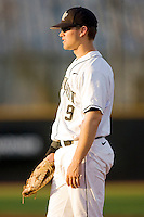 First baseman Austin Stadler #9 of the Wake Forest Demon Deacons on defense against the North Carolina State Wolfpack at Wake Forest Baseball Park March 19, 2010, in Winston-Salem, North Carolina.  Photo by Brian Westerholt / Four Seam Images
