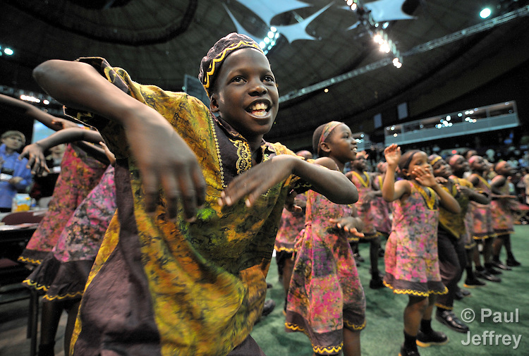 The Hope for Africa Children's Choir performs on April 29 at the 2008 United Methodist General Conference in Fort Worth, Texas. The children are from war-torn northern Uganda..