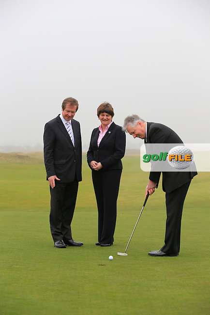 European Tour CEO George O'Grady, Arleen Foster Enterprise, Trade and Investment Minister, Rt. Hon. Peter robinson First Minister MLA at the Irish Open 2015 announcement, Royal County Down Golf Club, Newcastle, Down,Ireland.<br /> Picture: Fran Caffrey www.golffile.ie
