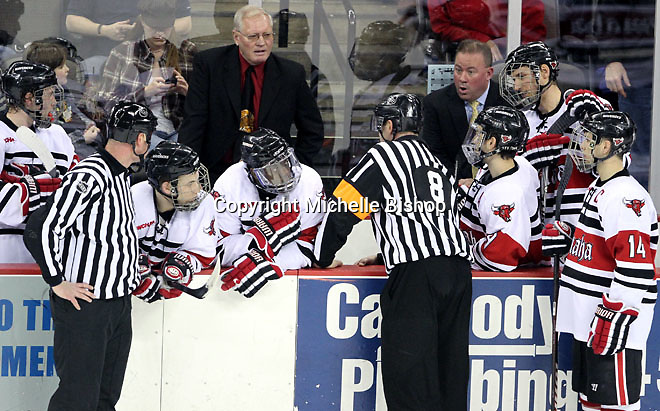 UNO Associate Head Coach Mike Hastings (right) reacts to a disallowed goal during the third period. Alabama-Huntsville beat University of Nebraska Omaha 2-1 in overtime Saturday night at Qwest Center Omaha. (Photo by Michelle Bishop)