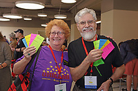 New York, NY, USA - June 24-25, 2017: OrigamiUSA 2017 Convention at St. John's University, Queens, New York, USA. Martha Landy and Jean Roy with tickets for classes.