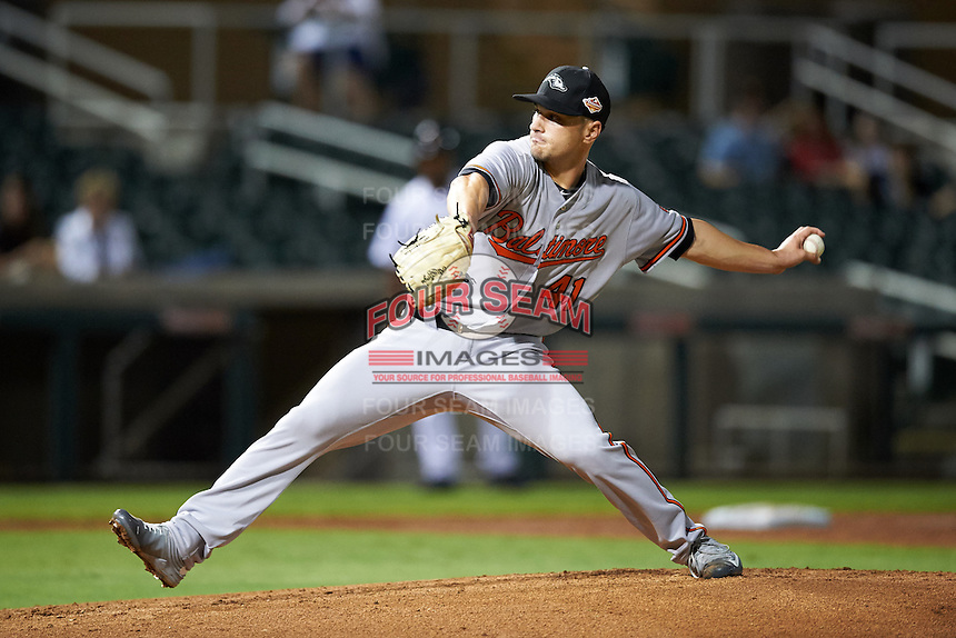Peoria Javelinas pitcher Tanner Scott (41), of the Baltimore Orioles organization, during a game against the Salt River Rafters on October 11, 2016 at Salt River Fields at Talking Stick in Scottsdale, Arizona.  The game ended in a 7-7 tie after eleven innings.  (Mike Janes/Four Seam Images)