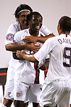 11 March 2008: Teammates congratulate Freddy Adu (USA) (center) following his first half goal. The United States U-23 Men's National Team tied the Cuba U-23 Men's National Team 1-1 at Raymond James Stadium in Tampa, FL in a Group A game during the 2008 CONCACAF's Men's Olympic Qualifying Tournament.