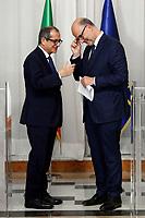 Giovanni Tria and Pierre Moscovici<br /> Roma 18/10/2018. Il Ministro dell'Economia incontra il Commissario per gli Affari Economici.<br /> Rome October 18th 2018. The Italian Minister of Economy meets the European Commissioner for Economic and Financial Affairs.<br /> Foto Samantha Zucchi Insidefoto