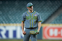 Baylor Bears relief pitcher Luke Boyd (41) reacts after getting the final out of the game against the Arkansas Razorbacks in game nine of the 2020 Shriners Hospitals for Children College Classic at Minute Maid Park on March 1, 2020 in Houston, Texas. The Bears defeated the Razorbacks 3-2. (Brian Westerholt/Four Seam Images)