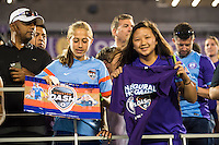 Orlando, Florida - Saturday, April 23, 2016: Orlando Pride and Houston Dash fans wait for an autograph after an NWSL match between Orlando Pride and Houston Dash at the Orlando Citrus Bowl.