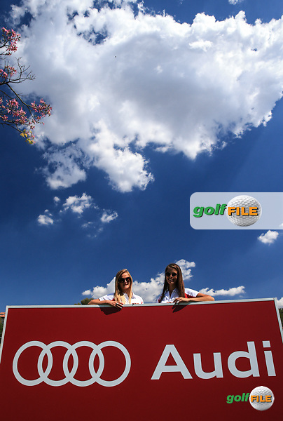 14th tee with Audi girls Jessica and Deidre during Round Three of the 2016 Tshwane Open, played at the Pretoria Country Club, Waterkloof, Pretoria, South Africa.  13/02/2016. Picture: Golffile | David Lloyd<br /> <br /> All photos usage must carry mandatory copyright credit (&copy; Golffile | David Lloyd)