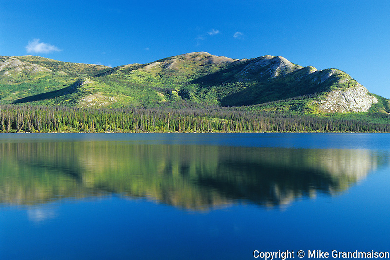 Reflection of the Ruby Ranges in Kluane Lake<br /> Kluane National Park<br /> Yukon<br /> Canada