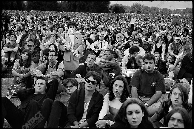 Mourners in Hyde Park, during the funeral of Princess Diana. London, England, UK, September 6, 1997  .