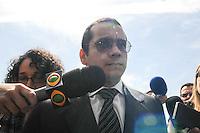 SAO PAULO, SP, 18 FEVEREIRO 2013 - JULGAMENTO GIL RUGAI - O acusado Gil Rugai, de 29 anos, chega ao Fórum Criminal da Barra Funda, na zona oeste de São Paulo, nesta segunda-feira (18). Rugai, acusado de matar o pai, Luiz Carlos Rugai, e a madrasta, Alessandra de Fátima Troitino, em 28 de março de 2004, deve ir a júri popular hoje. (FOTO: ADRIANO LIMA / BRAZIL PHOTO PRESS).