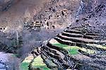 Berber village and farm terraces near Imlil, Atlas Mountains, Morocco