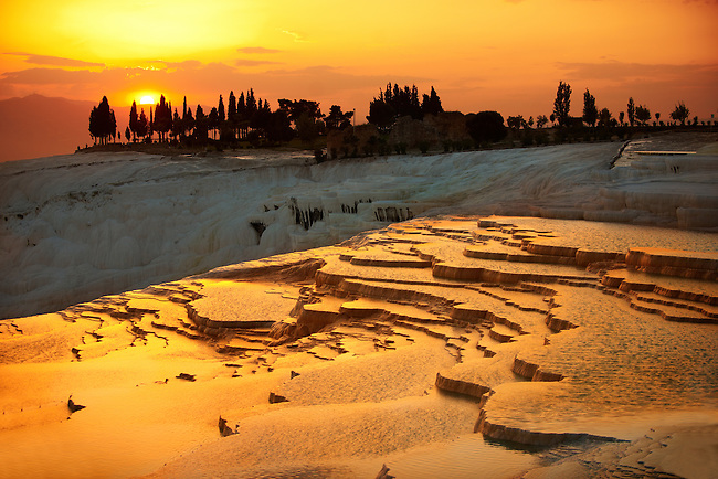 Photo & Image  of Pamukkale Travetine Terrace, Turkey, at sunset. Images of the white Calcium carbonate rock formations. Buy as stock photos or as photo art prints. 3 Pamukkale travetine terrace water cascades, composed of white Calcium carbonate rock formations, Pamukkale, Anatolia, Turkey