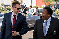 Joel McHale and Leslie David Baker <br /> The Happytime Murders (2018) <br /> *Filmstill - Editorial Use Only*<br /> CAP/RFS<br /> Image supplied by Capital Pictures