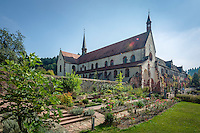 Germany, Baden-Wuerttemberg, Tauber Valley, Wertheim, district Bronnbach: Cistercian monastery Bronnbach - herb garden | Deutschland, Baden-Wuerttemberg, Taubertal, Wertheim, Ortsteil Bronnbach: Kloster Bronnbach, ehemalige Zisterzienser-Abtei, Kraeutergarten