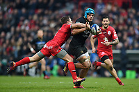 Zach Mercer of Bath Rugby takes on the Toulouse defence. Heineken Champions Cup match, between Stade Toulousain and Bath Rugby on January 20, 2019 at the Stade Ernest Wallon in Toulouse, France. Photo by: Patrick Khachfe / Onside Images
