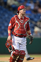 Clearwater Threshers catcher Andrew Knapp (5) backs up a play during a game against the Tampa Yankees on April 21, 2015 at Bright House Field in Clearwater, Florida.  Clearwater defeated Tampa 3-0.  (Mike Janes/Four Seam Images)