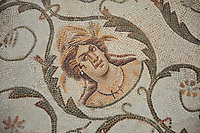 Detail picture of a Roman mosaics design depicting the Four Seasons, from the Maison de la Procession Dionysiaque, ancient Roman city of Thysdrus. 2nd century AD. El Djem Archaeological Museum, El Djem, Tunisia.