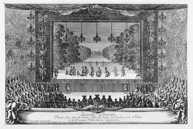 Second day of the 7 days of festivities held at the Palace of Versailles in May 1664 to celebrate the birth of a son to Louise de La Valliere, mistress of King Louis XIV, engraving by Israel Silvestre, 1621-91, French artist. As Versailles did not have its own theatre, stages were set up around the palace and its gardens for the festivities. Copyright © Collection Particuliere Tropmi / Manuel Cohen