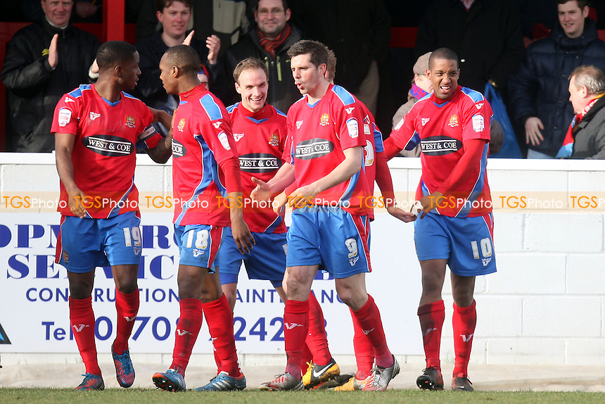 Josh Scott of Dagenham(10) is congratulated after scoring the opening Daggers goal - Dagenham and Redbridge vs Burton Albion at the London Borough of Barking and Dagenham Stadium - 16/03/13 - MANDATORY CREDIT: Dave Simpson/TGSPHOTO - Self billing applies where appropriate - 0845 094 6026 - contact@tgsphoto.co.uk - NO UNPAID USE.