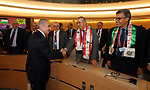 Palestinian Prime Minister Mohammad Ishtayeh, attends the meeting of International Forum to solidarity with Palestinian workers, held by the Arab Labor Organization, in Geneva, Switzerland, on June 13, 2019. Photo by Prime Minister Office