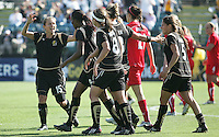 Tiffeny Milbrett (15) celebrates with teammates Kandace Wilson, Tiffany Weimer, Kristen Graczyk and Tina DiMartino.  Washington Freedom defeated FC Gold Pride 4-3 at Buck Shaw Stadium in Santa Clara, California on April 26, 2009.