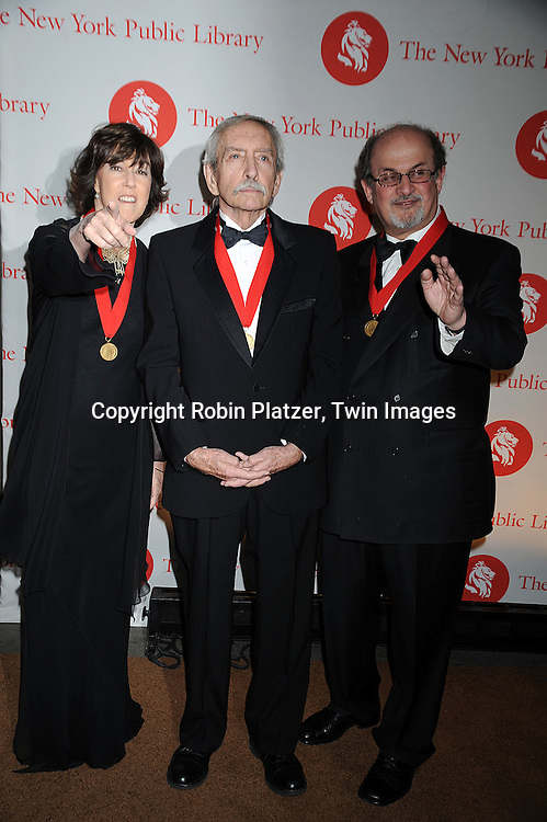The honorees, Nora Ephron, Edward Albee and Salman Rushdie..arriving at The New York Public Library 2008 Library Lions Benefit Gala on November 3, 2008 at The New York Public Library at 42nd Street and 5th Avenue.....Robin Platzer, Twin Images