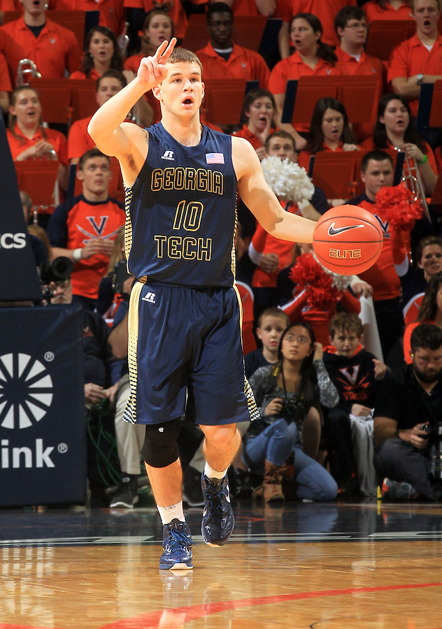 Georgia Tech guard Travis Jorgenson (10) during the game Jan. 22, 2015, in Charlottesville, Va. Virginia defeated Georgia Tech 57-28.