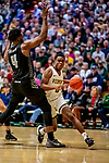 18 December 2019: University of Vermont Catamount Guard Stef Smith, a Junior from Ajax, Ontario in second half action against the UNC Greensboro Spartans at Patrick Gymnasium in Burlington, Vermont. The Spartans edged out the Catamounts 54-53 in the final minutes of play. Mandatory Credit: Ed Wolfstein Photo *** RAW (NEF) Image File Available ***