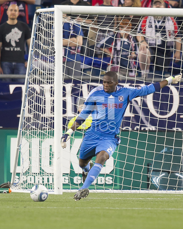 Chicago Fire goalkeeper Sean Johnson (25) clears the ball. In a Major League Soccer (MLS) match, the New England Revolution tied the Chicago Fire, 1-1, at Gillette Stadium on June 18, 2011.