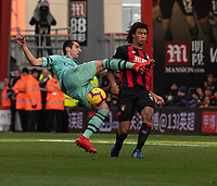 Arsenal's Henrikh Mkhitaryan (left) fails to strike the ball while under pressure from Bournemouth's Nathan Ake (right) <br /> <br /> Photographer David Horton/CameraSport<br /> <br /> The Premier League - Bournemouth v Arsenal - Sunday 25th November 2018 - Vitality Stadium - Bournemouth<br /> <br /> World Copyright © 2018 CameraSport. All rights reserved. 43 Linden Ave. Countesthorpe. Leicester. England. LE8 5PG - Tel: +44 (0) 116 277 4147 - admin@camerasport.com - www.camerasport.com