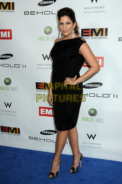 LADY ANTEBELLUM - Hillary Scott .EMI Post Grammy Party 2010 held at the W Hollywood Hotel, Hollywood, California, USA, 31st January 2010..full length black dress one shoulder hand on hip peep toe shoes ring cut out grammys .CAP/ADM/BP.©Byron Purvis/Admedia/Capital Pictures