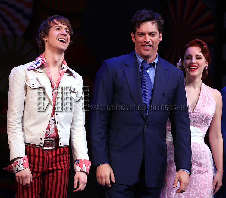David Turner, Harry Connick Jr., Jessie Mueller & Company.during the Opening Night Curtain Call for 'On A Clear Day You Can See Forever' at the St. James Theatre in New York City, 12/11/2011
