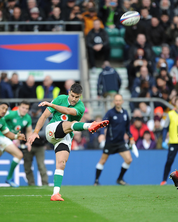 Conor Murray of Ireland send up a box kick during the Guinness Six Nations match between England and Ireland at Twickenham Stadium on Sunday 23rd February 2020 (Photo by Rob Munro/Stewart Communications)