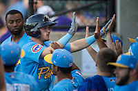Ian Happ (5) of the Myrtle Beach Pelicans high fives teammates after hitting a home run in the first inning against the Winston-Salem Dash at BB&T Ballpark on April 18, 2016 in Winston-Salem, North Carolina.  The Pelicans defeated the Dash 6-4.  (Brian Westerholt/Four Seam Images)