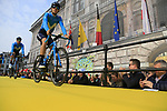 Movistar Team at the team presentation in Antwerp before the start of the 2019 Ronde Van Vlaanderen 270km from Antwerp to Oudenaarde, Belgium. 7th April 2019.<br /> Picture: Eoin Clarke | Cyclefile<br /> <br /> All photos usage must carry mandatory copyright credit (&copy; Cyclefile | Eoin Clarke)