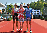 CHATTANOOGA, TN - SEPTEMBER 8:  Women's podium (L-R) 2nd Place Emma Gallant of Great Britain, 1st Place Daniela Ryf of Switzerland and 3rd Place Laura Phillip of Germany during the the Women's IRONMAN 70.3 St. World Championships on September 9, 2017 in Chattanooga, Tennessee. (Photo by Donald Miralle for Ironman)