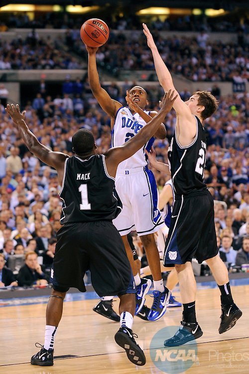 5 APR 2010: Nolan Smith (2) of Duke puts up a shot during the championship game of the Men's Final Four Basketball Championship held at Lucas Oil Stadium in Indianapolis, IN. Duke went on to defeat Butler 61-59 to claim the championship title. Ryan McKee/NCAA Photos