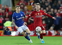 5th January 2020; Anfield, Liverpool, Merseyside, England; English FA Cup Football, Liverpool versus Everton; Harvey Elliott of Liverpool shields the ball from Lucas Digne of Everton - Strictly Editorial Use Only. No use with unauthorized audio, video, data, fixture lists, club/league logos or 'live' services. Online in-match use limited to 120 images, no video emulation. No use in betting, games or single club/league/player publications