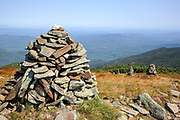 Appalachian Trail - Rock cairns near the summit of Mount Moosilauke during the summer months in the White Mountains, New Hampshire.