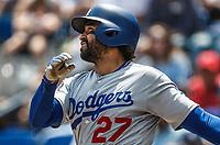 Matt Kemp.<br /> Acciones del partido de beisbol, Dodgers de Los Angeles contra Padres de San Diego, tercer juego de la Serie en Mexico de las Ligas Mayores del Beisbol, realizado en el estadio de los Sultanes de Monterrey, Mexico el domingo 6 de Mayo 2018.<br /> (Photo: Luis Gutierrez)