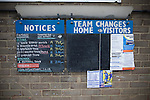 Matlock Town 0 Eastwood Town 3, 09/10/2010. Causeway Lane, FA Cup 3rd qualifying round. A chalkboard sign inside the stadium advertising the team's for the FA Cup 3rd qualifying round tie between Matlock Town and Eastwood Town at Causeway Lane, Matlock. The visitors from Nottingham who play one division higher than Matlock won by three goals to nil to move to within one round of the FA Cup 1st round proper. The match was watched by 655 spectators. Photo by Colin McPherson.