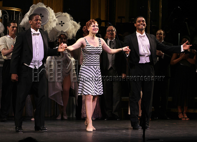 Jared Grimes, Megan Sikora & Phillip Attmore.during the final performance Curtain Call for the New York City Center ENCORES! Production of 'Gentlemen Prefers Blondes' at City Center in New York City on 5/13/2012.